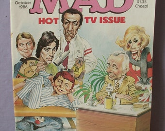 Vintage MAD magazine number 266, 1986, Hot TV Issue, Growing Pains, Wheel of Fortune, Dr Ruth, comic book