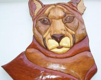 Hand Carved Wood Art Intarsia PUMA Cat Mountain Lion