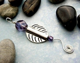 Silver abstract leaf pendant necklace with mauve Czech glass luster beads & sterling silver wire wave and spiral on lavender silk cord