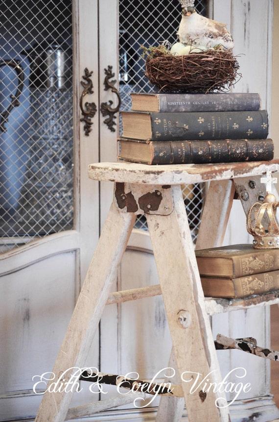 Shabby Vintage Wood Step Ladderoriginal White Paint Step