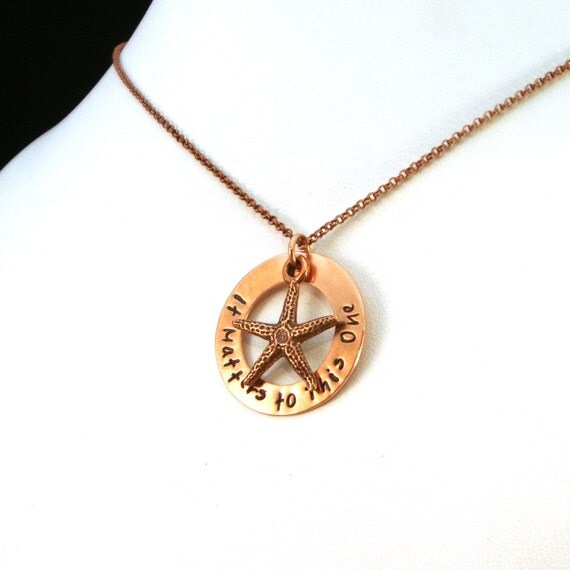 It Matters to This One Starfish Necklace in Copper / Social Worker Necklace / Social Worker Gift / Adoption Necklace / CASA Volunteer Gift