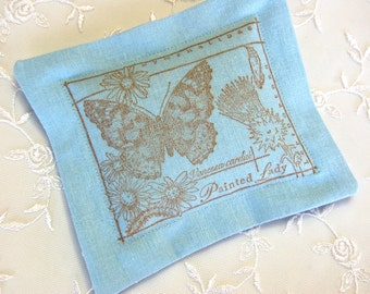 Butterflies and Wildflowers Lavender Sachet on Blue Linen (Gifts under 10 dollars) Fresh Dried Lavender