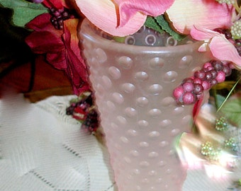 Vintage Pink Frosted Hobnail Glass Vase.  Frosted Exterior. Cylindrical Shape.  Substantial in Weight