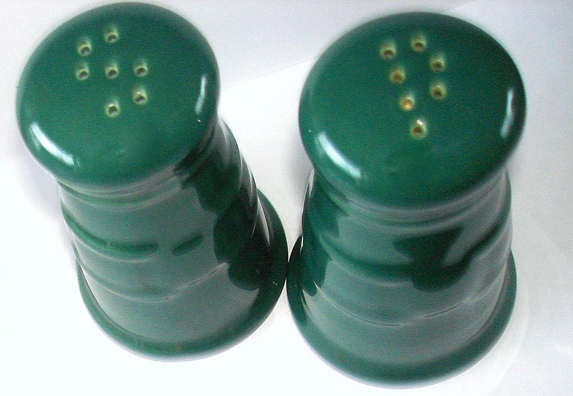 Green Salt Pepper Shakers Ceramic Large By Fineoldthings