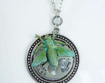 Steampunk Pendant SALE, Antiqued Silver with Vintage Watch Movement and Verdigris Bee - HALF PRICE