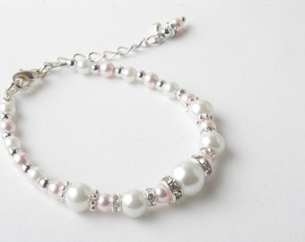 Pink and White Flower girl bracelet - Bridesmaid bracelet - pearls and crystals bracelet - Pink and white pearl bracelet - Pink wedding