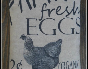 Farm Fresh Eggs Feed Sack Pillow
