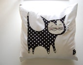 Happy Black Cat Pillow/Cushion with small Appliqued heart