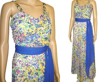 Vintage 1940s Dress//40s Dress//Floral//Flowing//Party Dress//Gown//1940s Gown