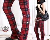 Punk Straight Leg Red Plaid Tartan Thermal Long Legging S.M.L