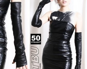 "50cm (19.75"") Fingerless Genuine Leather Dancer Goth Upper Arm Warmer Slim Glove"