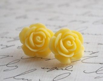 Yellow Rose Earrings - Sunny Yellow Rose Earrings - Rosette Earrings - Bridesmaid Earrings - Flowergirl Earrings - Yellow Wedding