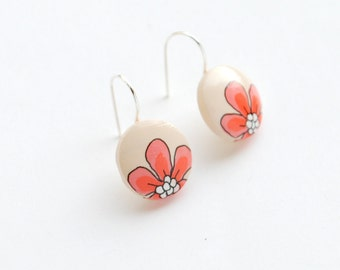 Dangle - Hand painted cream floral earrings