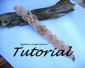 Micro macrame tutorial pattern. Beaded bracelet tutorial.