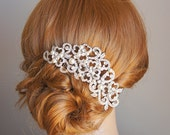 PERRINE, Victorian Style Wedding Hair Comb, Ivory or White Pearl and Rhinestone Bridal Hair Comb, Flower Crystal Wedding Hair Accessories
