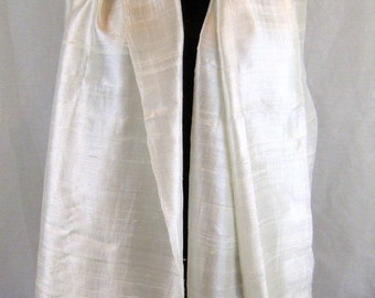 "100 % Thai Raw Pure Silk Scarf Shawl Wrap  24""x62"" Large in Natural White Cream H8"
