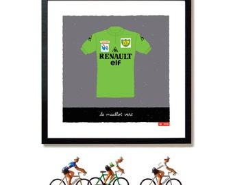 Tour de France, Cycling Art, Green Jersey, Lauren Fignon, Points Jersey, Art Print