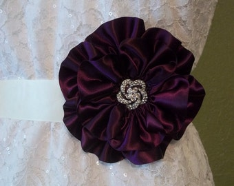 Deep Plum Satin Bridal Sash, Eggplant Statement Belts, Flower Statement Belt, Purple Wedding Sash Belt, Double Faced Luxe Satin Ribbon
