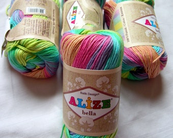 Pure Cotton Baby  Yarn: Light Weight, Alize Bella Batik Design in pink, blue, green and yellow color 4151. SALE. DSH(P3)