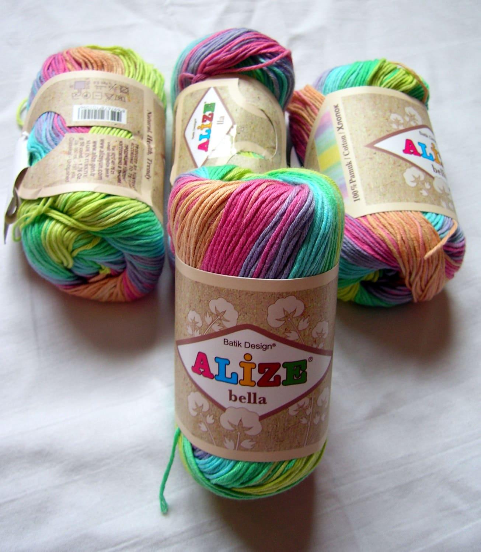 Pure Cotton Baby Yarn: Light Weight Alize Bella Batik Design