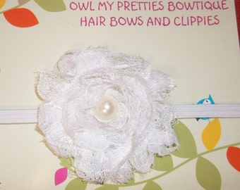 White Shabby Frayed LACE Flower Headband Babies Toddlers Girls