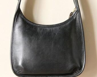 90s Coach Saddle Bag Purse black leather minimalist small designer simple classic preppy handbag