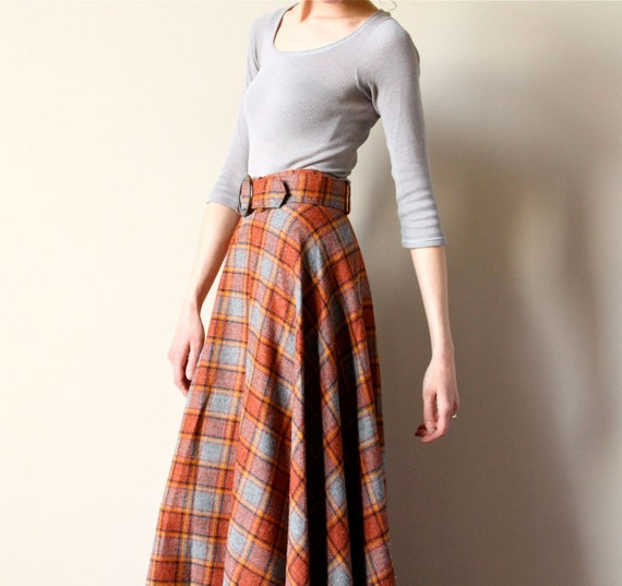 60s Plaid Wool Maxi Skirt Boho Hippie Tartan By