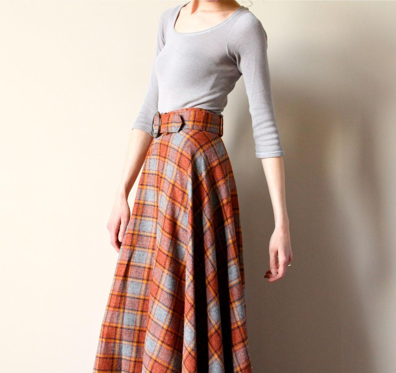 60s Plaid Wool Maxi Skirt Boho Hippie Tartan Long A Line