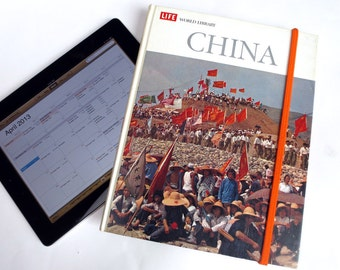 China Book Case for iPad Tablet, Featuring Photo of Young Chinese Waving Flags, with Bright Red Lining, Fits Large Nook, Kindle, Galaxy Tab