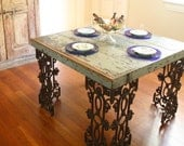 Reserved-New Orleans Dining Room Table Made From Reclaimed Wood and Wrought Iron