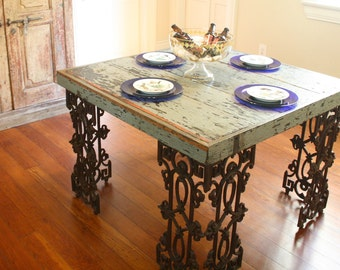 New Orleans Dining Room Table Made From Reclaimed Wood and Wrought Iron