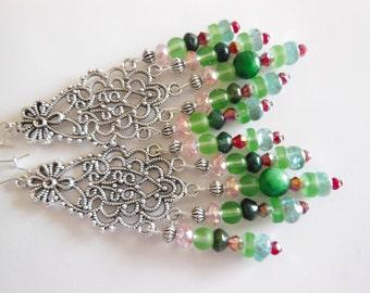 Flowers on Silver chandelier earrings  E297