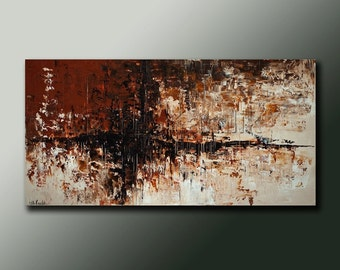 Modern Abstract Original PAINTING Contemporary Fine Art Wall Decor Brown earth tones by Idil Kamlik
