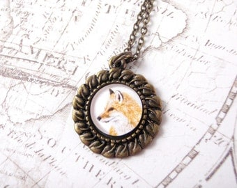 Fox Necklace - Handdrawn Fox Pendant, Fox Jewelry, Small Round Antique Brass Plated Pendant