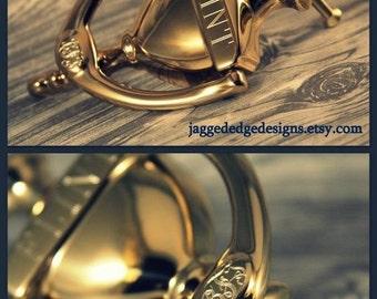 "Custom Engraved ""Cambridge"" Style Solid - BRIGHT BRASS Door Knocker"