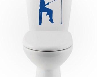 Girl Fishing DECAL- gone fishing Home Decor, Vinyl Wall Art, toilet, Shower, Bathroom, Interior Design