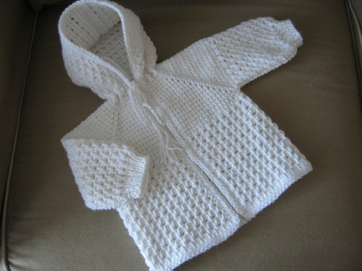 White Crochet Baby Sweater With Hood For Boy Or Girl 0 3