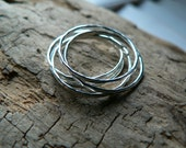Set of 5 Hammered Sterling Silver Stacker Rings
