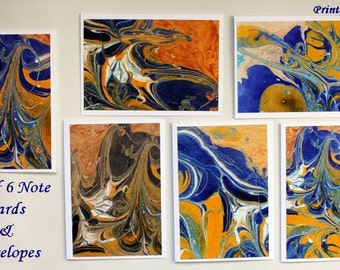 "Art Cards, Set of 6 Abstract Note Cards, ""Blue and Yellow Melting"" Series"