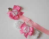 Monogram Pacifier Clip and Headband Baby Gift Set  .. Great for Twins