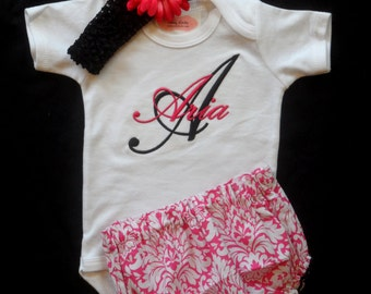Personlaized Baby Girl Clothes MonogramBaby Girl Outfit with Damask Diaper Cover  Flower Headband Baby Gift Set