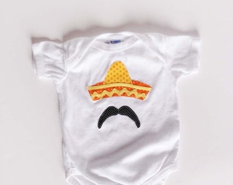 Cinco De Mayo One Piece Sombrero and Mustache Bodysuit