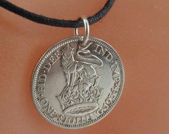 antique SILVER SHILLING England. vintage  english coin necklace. UK. great britain. coin jewelry. gift  No.001315
