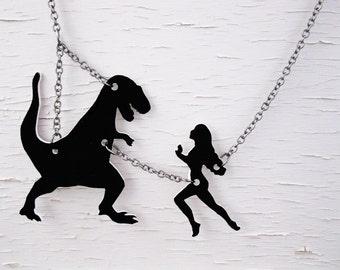 Geekery T-Rex Dinosaur Statement Necklace Jurassic Kitsch Silhouette Jewelry Nerdy velociraptor