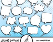 Speech Bubbles Clip Art - INSTANT DOWNLOAD - Commercial Use - Card Making Embellishments - PNG