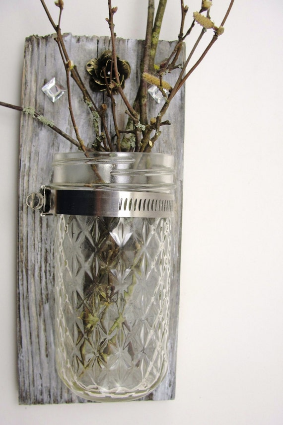 upcycled wood wall hanging,  mason jar candle, vase, metal flower, rustic, shabby chic
