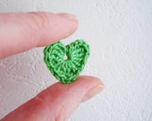 Crochet Heart Appliques, Spring Green, Set of 10, Valentines Day Heart Love Motif, Scrapbooking, Party Decorations, Vintage Pale Green Heart