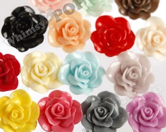 MIXED COLOR Flower Cabochons, Rose Shaped, Large Flower Cabochons, Begonia Cabochons, Rose Cabochons, 30mm x 28mm (R3-069)