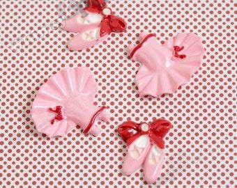 4 - Red Pink White Kawaii Ballet Tutu Dress and Ballet Shoes Deco Resin Flatback Cabochons, Ballet Cabochons (R7-003)