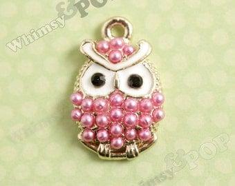 1 - Pink Pearl Little Fat Owl Charm, Owl Charm, 22mm x 14mm (2-2J)